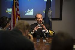 Chief of Naval Operations (CNO) Adm. Jonathan Greenert speaks to local media after an all hands call at the Naval Postgraduate School in February. US Navy Photo