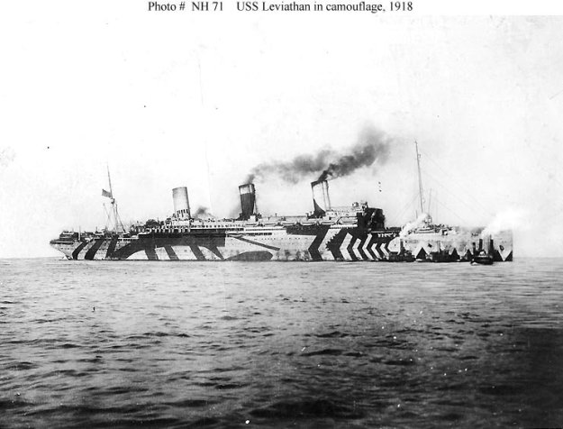 An ocean liner converted into a troop ship, the USS Leviathan in 1918