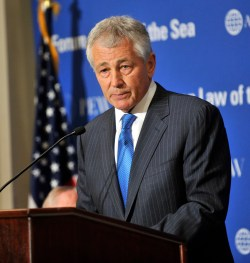 Senator Chuck Hagel speaks at the Forum on the Law of the Sea Convention held at the Willard Intercontinental Washington Hotel, Washington D.C, May 9, 2012. DoD Photo