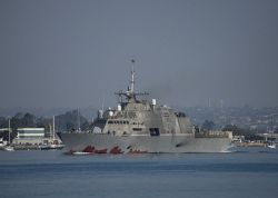 The littoral combat ship USS Freedom (LCS 1) departs San Diego harbor to conduct operations off the coast of Southern California in October. US Navy Photo