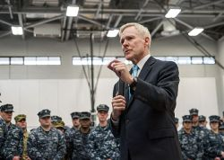 Ray Mabus meets with sailors in South Korea on Feb. 19. US Navy Photo