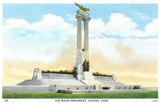 A period engraving of the original USS Maine monument in Havana, Cuba.