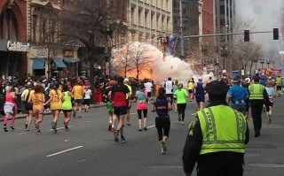 One of the two explosions that killed three during the Boston Marathon on April, 15 2013. Daily Telegraph Photo