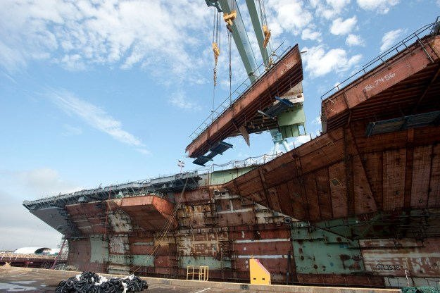 USS Gerald R. Ford (CVN-78) under construction in 2013. Newport News Shipbuilding photo.