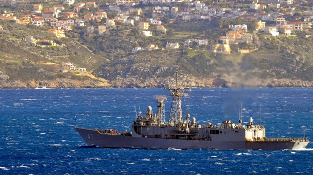 USS Nicholas (FFG 47) departs Souda Bay, Greece harbor following a port visit on Feb. 11, 2013. US Navy Photo.