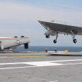 Northrop Grumman's X-47B just before landing on the USS George H.W. Bush (CVN-77) on July, 10 2013. US Navy Photo