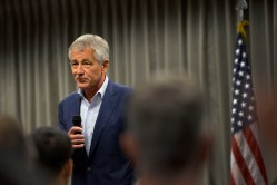 Secretary of Defense Chuck Hagel speaks at U.S. Northern Command at Peterson Air Force Base in Colorado Springs, Colo. on June 27, 2013. DoD Photo