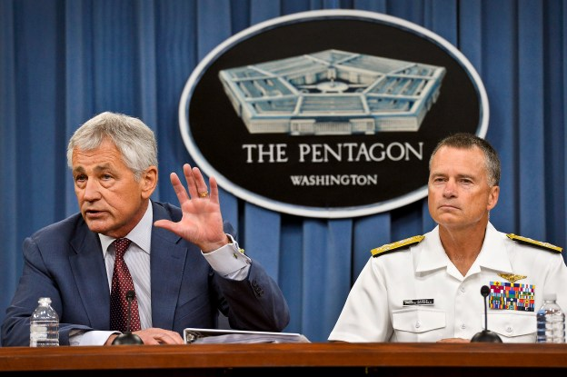 Secretary of Defense Chuck Hagel answers reporters' questions during a Pentagon press briefing on July 31, 2013. Department of Defense Photo