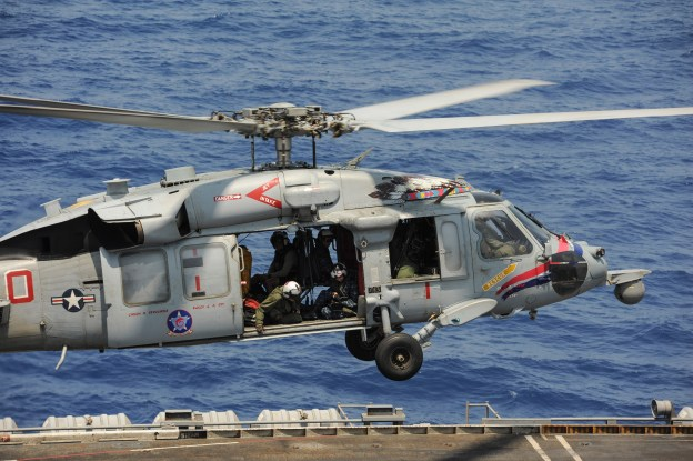 An MH-60S Knighthawk attached to Helicopter Sea Combat Squadron (HSC) 6