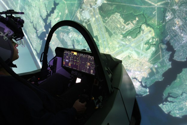 An undated photo of the F-35 Full Mission Simulator. Lockheed Martin Photo