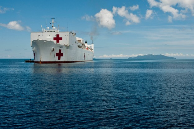 Military Sealift Command hospital ship USNS Mercy (T-AH-19) sits off the coast of the Philippines in 2012. US Navy Photo