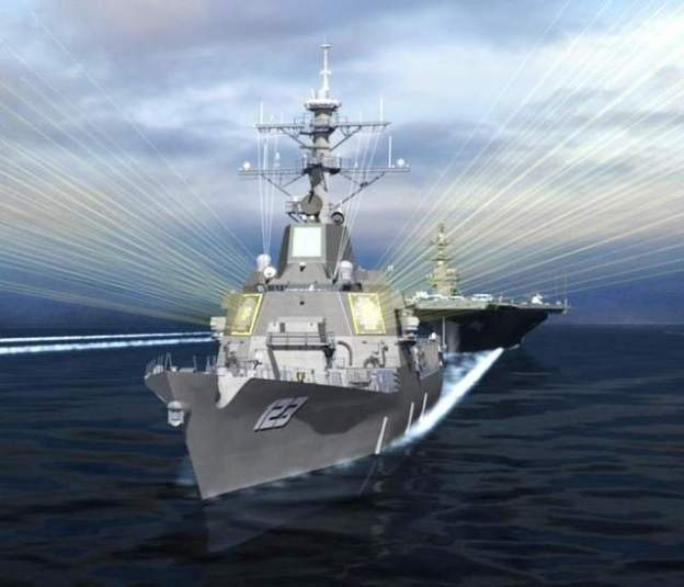 Artist's concept of a DDG-51 Flight III with AMDR. Raytheon Photo