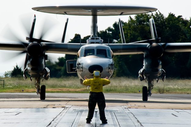E-2D Hawkeye from the Pioneers of Air Test and Evaluation Squadron (VX) 1 on Aug. 27, 2013. US Navy Photo