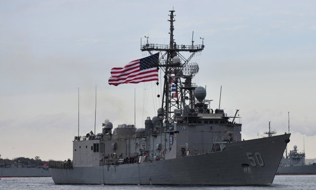 USS Taylor (FFG-50) departs Naval Station Mayport for a seven-month deployment to the U.S. 5th and 6th Fleets on Jan. 8, 2014. US Navy Photo