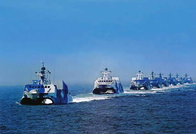 Several People Liberation Army Navy's Houbei missile boats.
