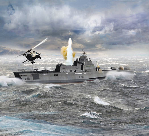 An artist's concept of the Multi-Mission Combatant offering based on the Independence-class Littoral Combat Ship design. General Dynamics Photo