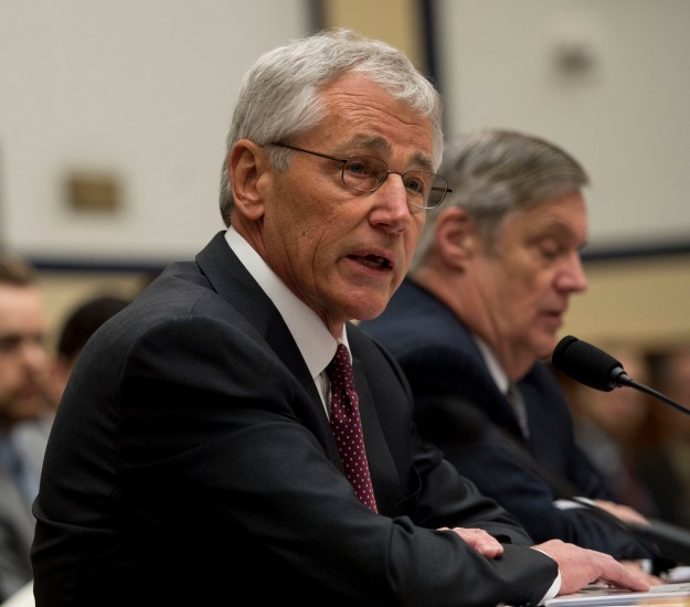 Secretary of Defense Chuck Hagel and Department of Defense Comptroller Robert Hale testify before the House Armed Service Committee on March 6, 2014. Department of Defense Photo.