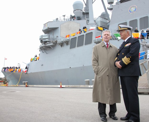 Secretary of the Navy Ray Mabus, left, speaks with Spanish Chief of Naval Staff Adm. Jaime MuÒoz-Delgado y Diaz del Rio following the arrival of the Arleigh Burke-class guided-missile destroyer USS Donald Cook (DDG-75) at Naval Station Rota, Spain on Feb. 11, 2014. US Navy Photo