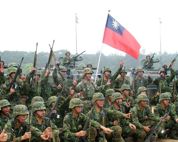 Taiwanese troops following an undated exercise.