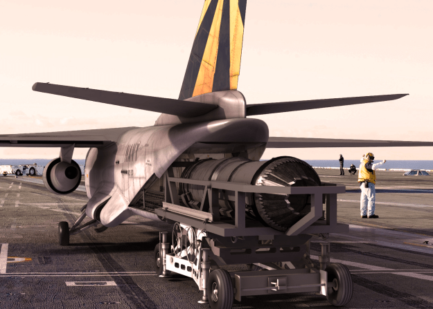 An artist's concept of Lockheed Martin's C-3 concept to replace the Navy's Carrier Onboard Delivery (COD) aircraft loading a F-135 engine. Lockheed Martin Photo