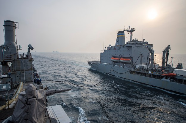 USS Denver (LPD-9) conducts a replenishment-at-sea with the Military Sealift Command fleet replenishment oiler USNS Rappahannock (T-AO 204). US Navy Photo