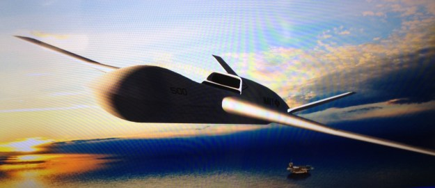An artist's concept of General Atomic's Sea Avenger UCLASS bid taken from a display monitor. US Naval Institute Photo