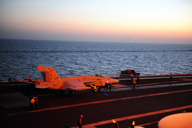 An F/A-18E Super Hornet prepares to launch from the aircraft carrier USS George H.W. Bush (CVN-77) on June 15, 2014. US Navy Photo