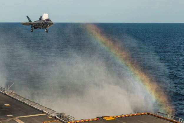 F-35B Lightning II aircraft lands aboard USS Wasp (LHD-1) in August 2013. US Navy Photo