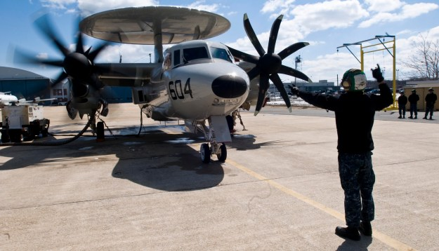 An E-2D Hawkeye outside the hangar at Naval Air Station Patuxent River on March 26, 2014. US NAvy Photo