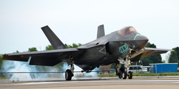 An F-35C Lightning II aircraft makes an arrested landing during a test flight at Naval Air Station Patuxent River, Md. on May 7, 2014. US Navy Photo