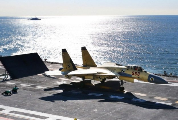 An undated photo of Chinese J-15 fighter in tests aboard Liaoning. PLAN Photo