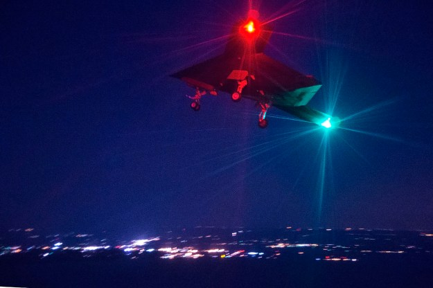 X-47B conducts its first night flight April 10 over Naval Air Station Patuxent River, Md. on April, 10 2014. US Navy Photo