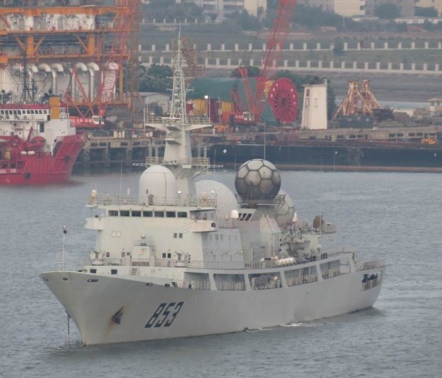 An undated photo of Dongdiao-class auxiliary general intelligence (AGI) Tianwangxing (853). A ship of the class is currently operating off the coast of Oahu monitoring RIMPAC 2014.