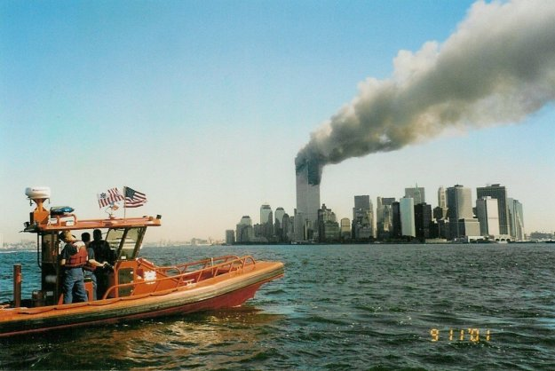 A Coast Guard RHIB off Manhattan on the morning of 11 September 2001.