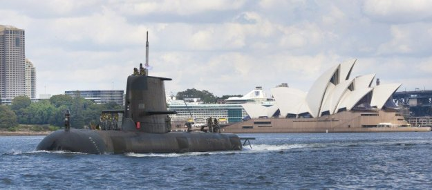 Royal Australian Navy Collins-class submarine HMAS Sheean (SSG-77) near the Sydney Opera House. RAN Photo