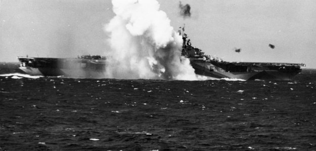 Kamikaze crashes near USS_Ticonderoga (CV-14) in 1944. US Navy Photo