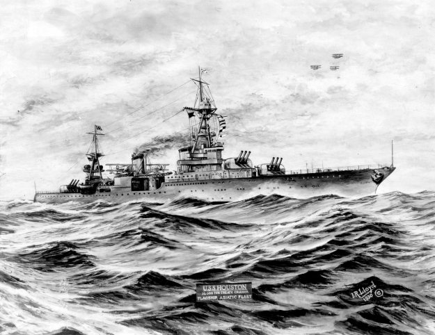 A 1930 print of USS Houston. US Naval Institute Archives