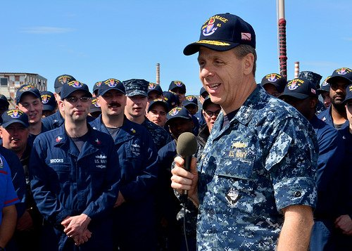 Vice Adm. Phil Davidson, commander, U.S. 6th Fleet, addresses the crew of USS Ramage (DDG-61) in April, 2014. US Navy Photo.
