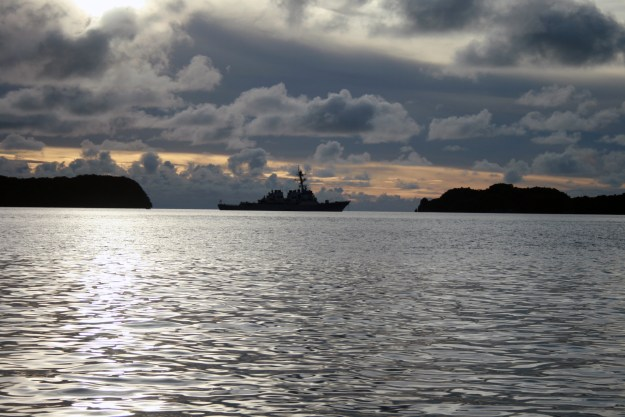 USS Benfold (DD 65) is at anchor off Koror, Republic of Palau in 2012. US Navy Photo