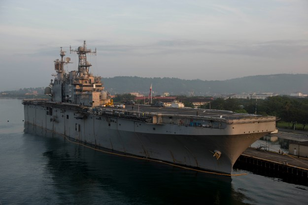 USS Peleliu (LHA-5) is moored at Subic Bay, Philippines, for Amphibious Landing Exercise 2015 on Sept. 30, 2014. US Navy Photo