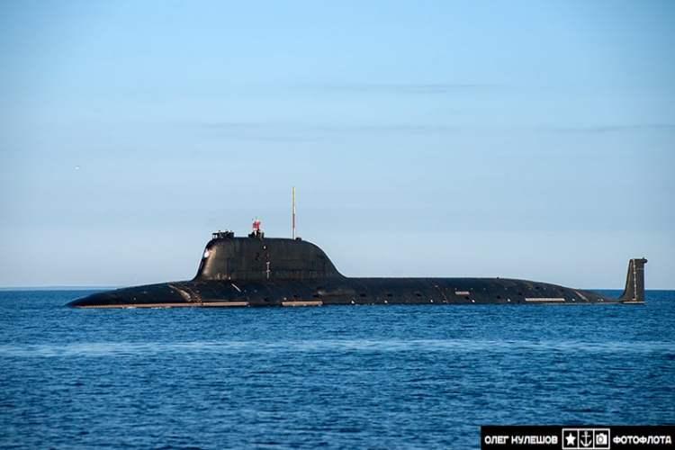Russian submarine Novosibirsk during July 2013 sea trials.