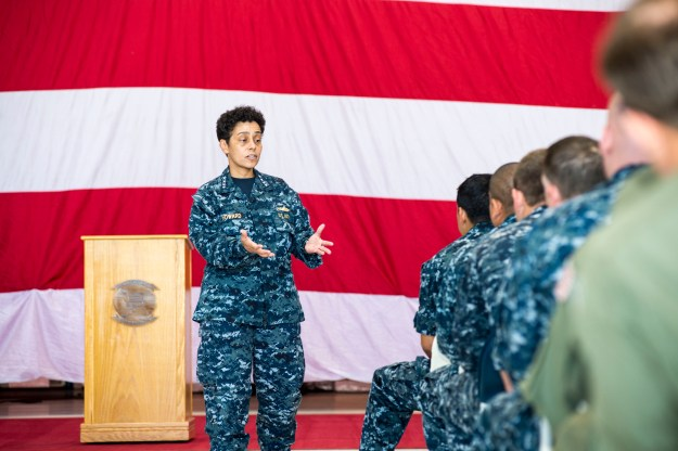 Vice Chief of Naval Operations Adm. Michelle Howard address sailors attached to Maritime Strike Squadron (HSM) 35 during an all-hands call at Naval Air Station North Island, Calif. US Navy Photo