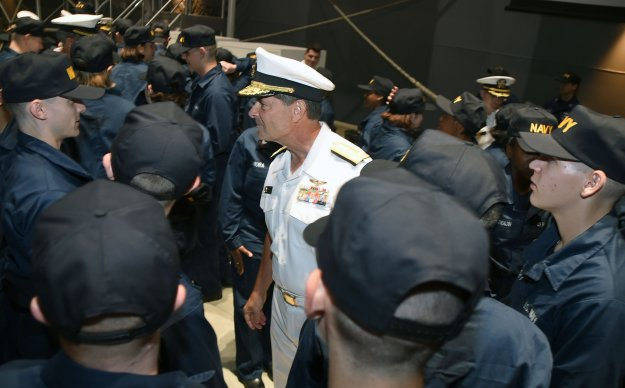 "Chief of Naval Personnel (CNP) Vice Adm. ""Bill"" Moran at Recruit Training Command (RTC) on Sept. 12, 2014. US Navy Photo"