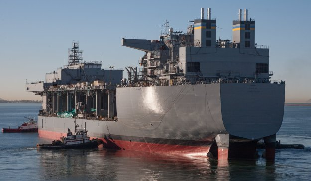 The mobile landing platform Lewis B. Puller (T-MLP-3/T-AFSB-1) successfully completed launch and float-off at the General Dynamics National Steel and Shipbuilding Co. (NASSCO) shipyard on Nov. 6, 2014. US Navy Photo