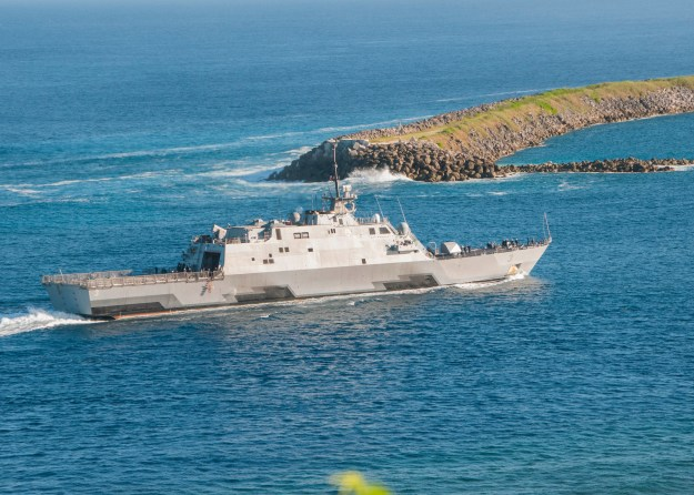 USS Fort Worth (LCS-3) enters Apra Harbor for a port visit on U.S. Naval Base Guam on Dec. 11, 2014.
