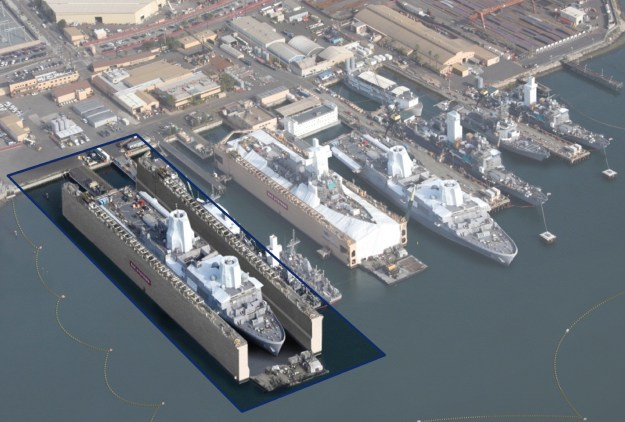An artist's conception of the planned floating dry dock at BAE Systems. BAE Photo
