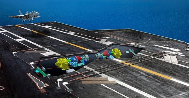 An artist's conception of an installed Advanced Arresting Gear (AAG) on a U.S. carrier. General Atomics Image