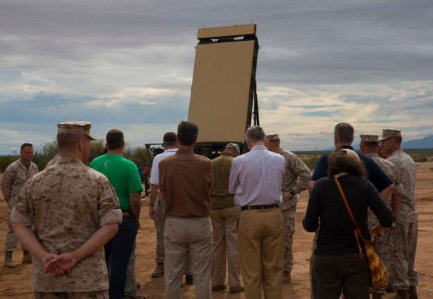 Visiting VIPs observe the Ground/Air Task Oriented Radar (G/ATOR) aboard Marine Corps Air Station Yuma, Ariz. on Oct. 8, 2014. US Marine Corps photo.