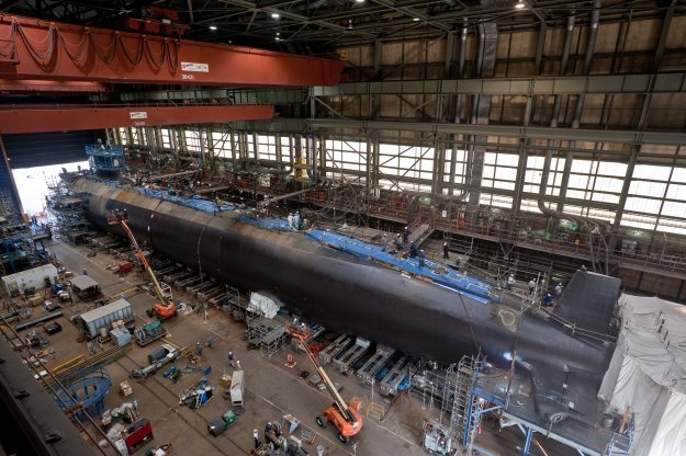 USS Minnesota (SSN-783) under construction at Newport News Shipbuilding in 2012. US Navy Photo