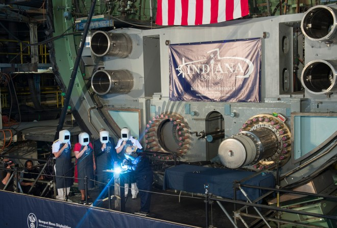 Navy Holds Keel Laying Ceremony for Attack Sub Indiana